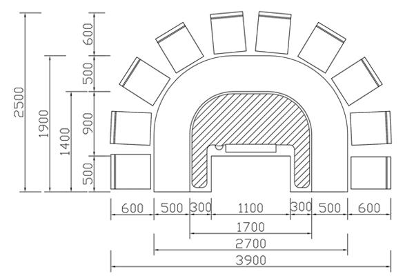 拱形铁板烧设备CAD规格图