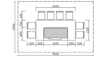长方形铁板烧设备CAD规格图