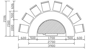 半圆形铁板烧CAD规格图